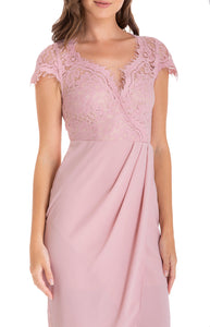 Women's Blush Asymmetric Hemline Dress with Embroidery Lace Top