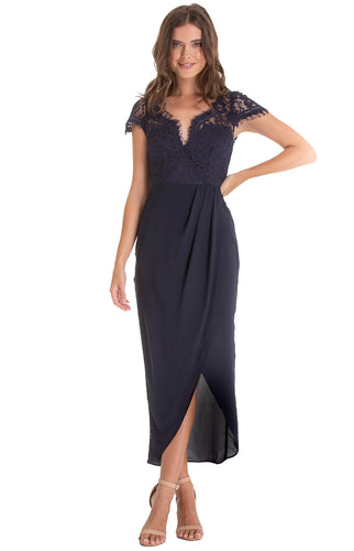 Women's Navy Asymmetric Hemline Dress with Embroidery Lace Top