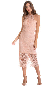 Women's Peach Embroidery Halter Neckline Lace Dress Sleeveless