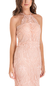 Peach Embroidery Halter Neckline Lace Dress