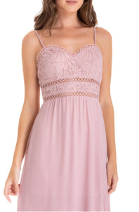 Women's Blush Side Split Maxi Dress With Lace and Heart Neckline