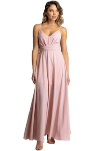 Blush Maxi Dress with Drape Front Detail