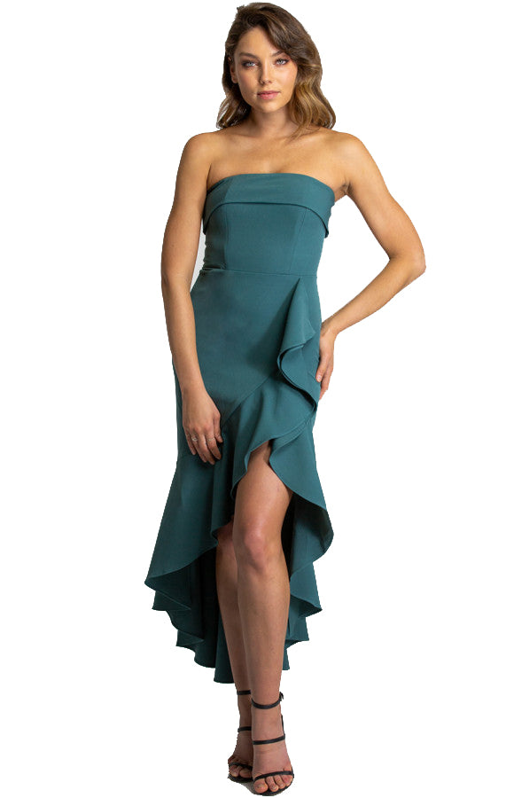 Women's Teal Strapless Dress With Waterfall Hemline