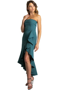 Women's Teal Strapless Princess Panel Dress With Waterfall Hemline
