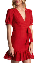 Load image into Gallery viewer, Red Short Dress With Frill Hem