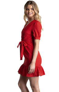 Red Short Dress With Frill Hem
