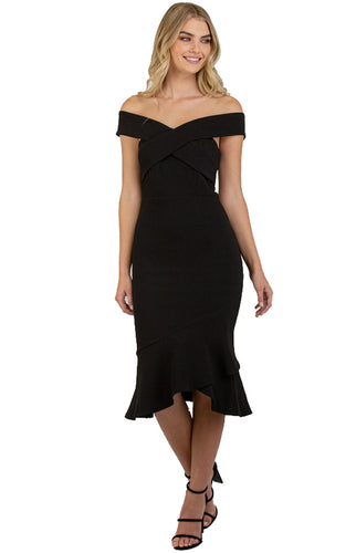 Black Bodycon Off Shoulder with Cross Front Detail Dress