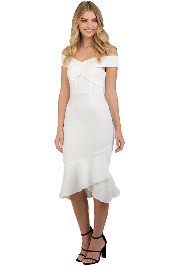 White Bodycon Off Shoulder with Cross Front Detail Dress