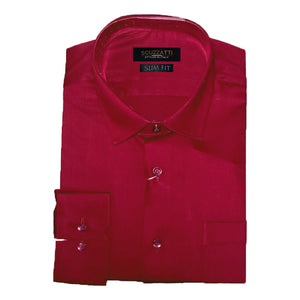 Mens Formal Red Poly Cotton Plain Shirt