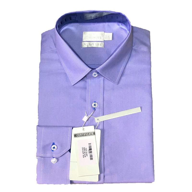 Mens Formal Sea Blue Cotton Birdseye Collar Shirt