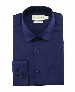 Mens Formal Navy Soft Bamboo Plain Shirt