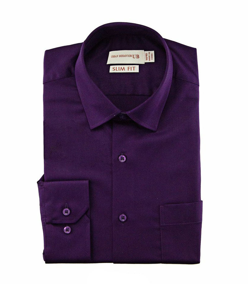 Men Formal Purple Soft Bamboo Plain Shirt