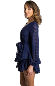 Women's Navy V Neckline Long Sleeve Playsuit with Ruffle Detail