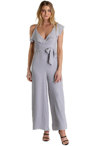 Women's Grey Asymmetrical Shoulder Jumpsuit with Ruffle Details