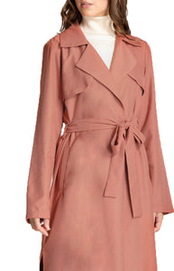 Women's Terracotta Collared Long Trench Jacket with Belt Feature