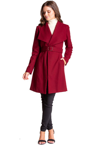 Women's Wine Wide Collar Wool Wrap Coat with Circle Buckle