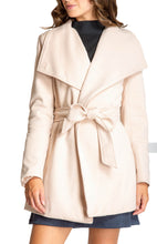 Load image into Gallery viewer, Women's Beige Wide Collar Wrap Coat with Tie-on Belt