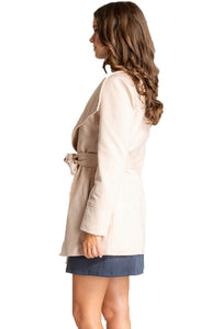 Women's Beige Wide Collar Wrap Coat with Tie-on Belt