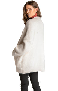 Women's White Dropped Shoulder Cardigan with Pockets