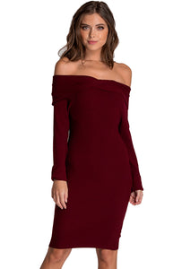 Women's Wine Off Shoulder Fitted Knit Sweater Dress Long Sleeve