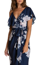 Load image into Gallery viewer, Women's Navy Floral V-Neckline Dress With Contrast Shoulder Details