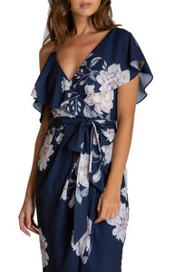 Women's Navy Floral V-Neckline Dress With Contrast Shoulder Details