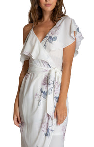 Women's White Floral V-Neckline Dress With Contrast Shoulder Details
