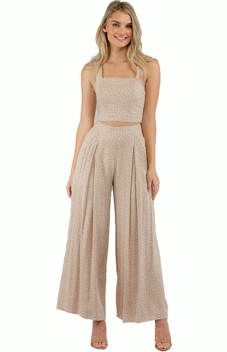 Apricot Jumpsuit Set With Crop Top And Pleated Pants