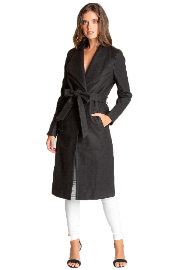 Women's Black Long Soft Lapel Wrap Overcoat with Belt Detail