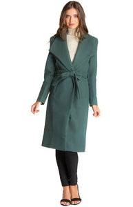 Women's Teal Long Soft Lapel Wrap Overcoat with Belt Detail