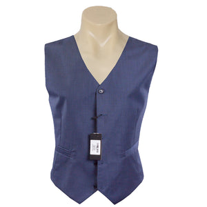 Men Formal Blue Plain Poly Wool Vest