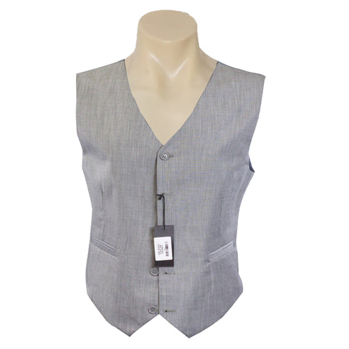Men Formal Grey Plain Poly Wool Vest