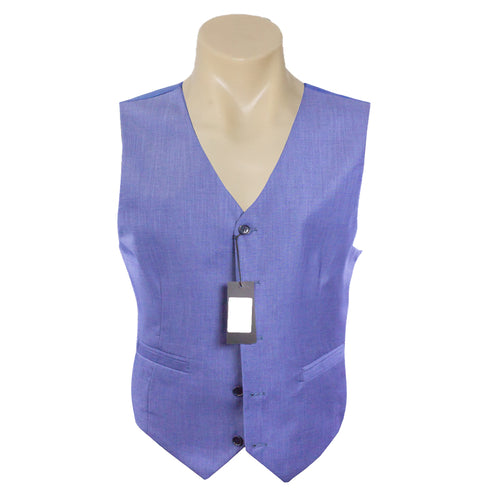 Men Formal Light Blue Plain Poly Wool Vest