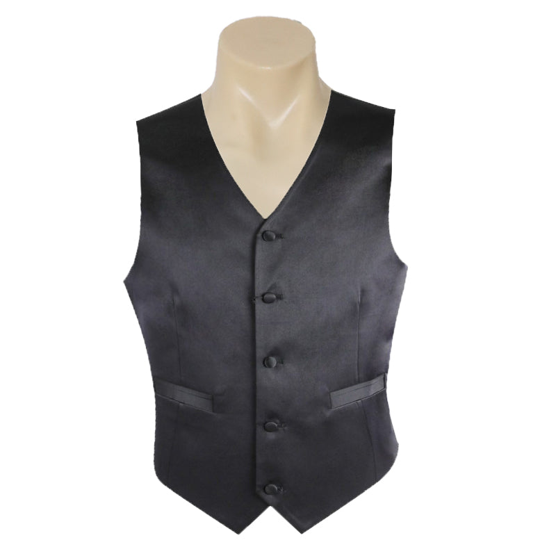 Men's Plain Black Business Formal Suit Vest Satin Classic Fitting