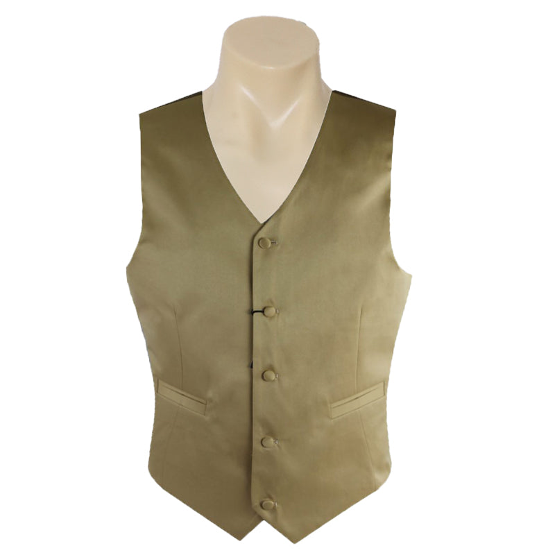 Men Formal Gold Satin Plain Vest
