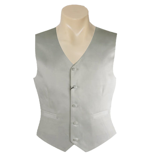 Men Formal Ivory Satin Plain Vest