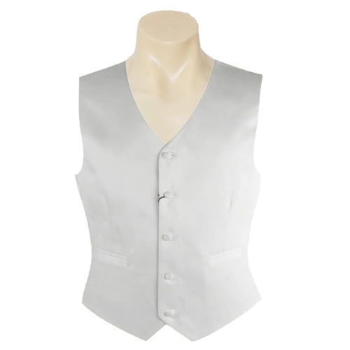 Men Formal White Satin Plain Vest