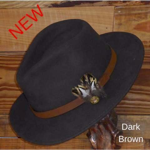 Brown Fedora Hat with Leather Band. Unisex, Crushable.