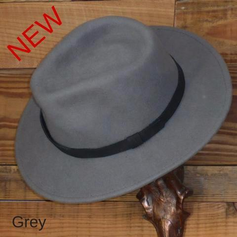 Grey Fedora Hat with Leather Band. Unisex, Crushable.