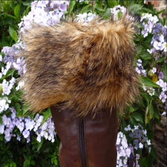 brown fur boot toppers