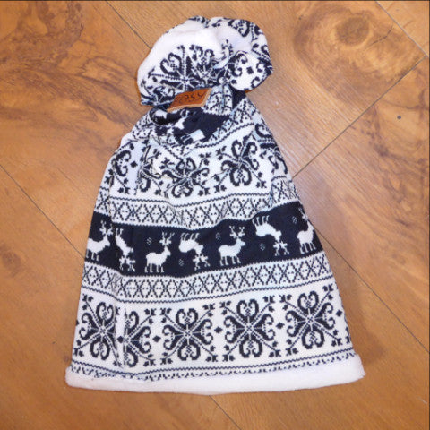 Nordic Beanie Style Reversible Snood Hat