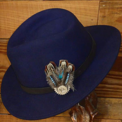 Navy Fedora Hat with Leather Band. Unisex, Crushable.
