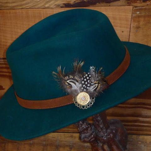 Green Fedora Hat with Leather Band. Unisex, Crushable.