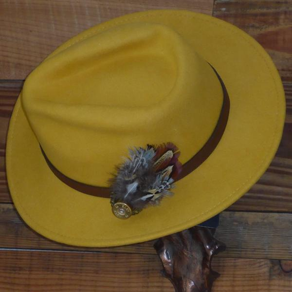 Mustard Fedora Hat with Leather Band. Unisex 95a510d5b491