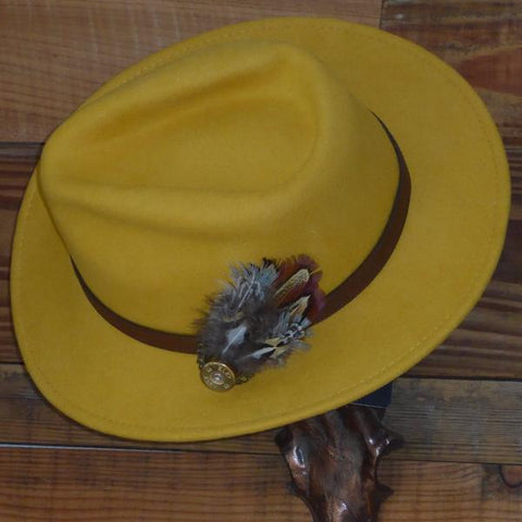 Mustard Fedora Hat with Leather Band. Unisex, Crushable.