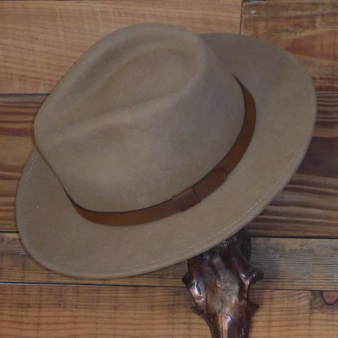 Camel Fedora Hat with Leather Band. Unisex, Crushable.