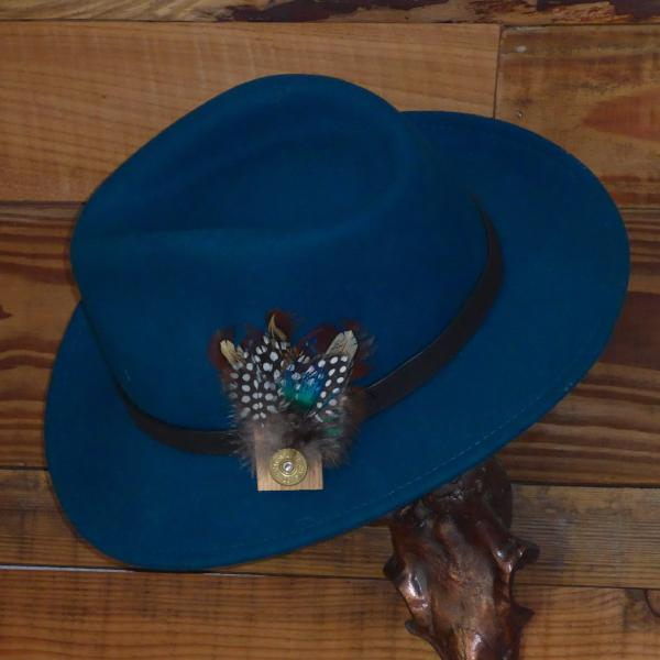 Teal Fedora Hat with Leather Band. Unisex 26ae281f910b