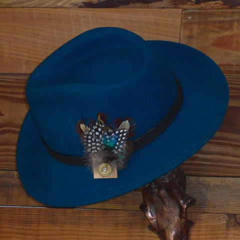 Teal Fedora Hat with Leather Band. Unisex, Crushable.