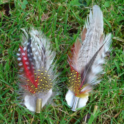 Feather Brooch on Antler with Nickel or Brass Bullet Casing