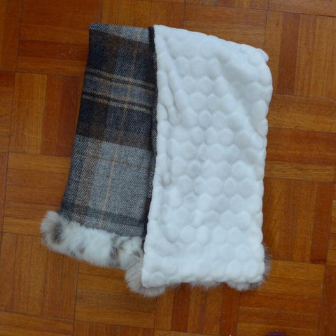 Tweed Scarf with Faux Fur Trim - Grey/Brown (Limited Edition)